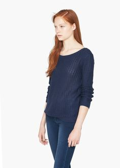 Pull-over maille envers - Cardigans et pull-overs pour Femme   MANGO