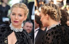 "16 hairstyles to steal from Cannes 2015 - SIENNA MILLER The ""American Sniper"" actress looks stunning with a braided updo."