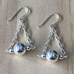 Sterling Silver Triangle Ball Earrings