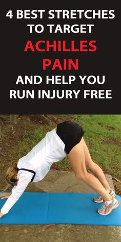 Try these 4 stretches to target Achilles pain in runners and to help runners run injury free. Achilles Tendonitis Exercises, Achilles Stretches, Achilles Pain, Running Injuries, Running Workouts, Running Tips, Best Stretches, Calf Stretches, Stretching
