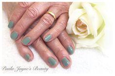 Shellac mani for lovely Janet. Colour Sage Scarf.  www.paula-jaynesbeauty.co.uk