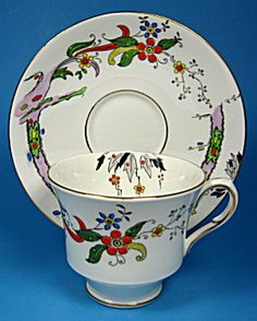 Dutchess Vintage Cup And Saucer Art Deco Colored On Transfer. Click the image for more information.