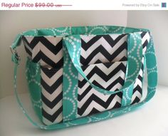 SALE Extra Large Chevron Diaper bag Made of Black and White with Tiffanyt Blue Fabric / Elastic Pockets on Etsy, $92.92 AUD