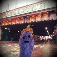 Friendly #microbe just by The Hielanman's Umbrella on Argyle Street, Glasgow.  #KnitMeAFriend  http://www.glasgowcityofscience.com/get-involved/knitting-microbes