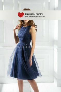 Bateau Empire Waist Pleated Tea Length Satin Navy Blue Bridesmaid Dresses BD0244