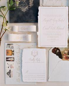 Ink Ivory Wedding Invitations, Addressing Wedding Invitations, Letterpress Wedding Invitations, Wedding Envelopes, Wedding Stationery, Envelope Addressing, Torn Paper, Vintage Stamps, Gold Foil