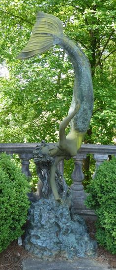 Monumental Bronze Diving Mermaid Sculpture On