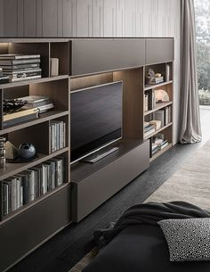 Giellesse Apartment on Behance Design Your Bedroom, Interior Design Living Room, Black And Silver Wallpaper, Modern Tv Room, Tv Feature Wall, Mdf Cabinets, Living Room Bookcase, Living Room Tv Unit Designs, Tv Decor