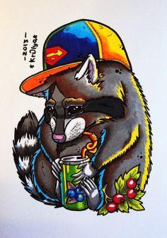 raccoon tattoo sketch