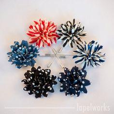PICK 3 Lapel Flower Pins. Mens Lapel Flower. Mens by LapelWorks (dark blue polka dots, black dots, red stripes)