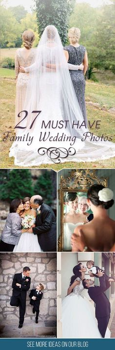 27 Must Have Family Wedding Photos Your parents play particular role at your wedding day so why wouldn't get photos of that. You can devote a special time for family wedding photos. See more wedding Wedding Photography Poses, Wedding Poses, Wedding Tips, Wedding Planning, Dream Wedding, Wedding Day, Wedding Dresses, Photography Ideas, Trendy Wedding