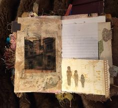 Left: Back of mixed media page with stapled tag and a found image. Right: Small piece of business envelope painted with brayered gesso and watercolor and decorated with stitched in plastic size ribbon from purchasing clothing. A tag from the next page is peeking over the edge.