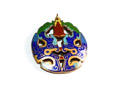 Antique Cloisonne Pendant  Royal Blue  Turquoise  by marykerran, $200.00