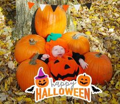 In search  of the perfect pumpkin  Baby Master of disguise  captured  with our NEW 'Halloween' artwork  Download #BabyStoryApp (link in our bio ) & tag photos made with @BabyStoryApp #BabyStoryApp