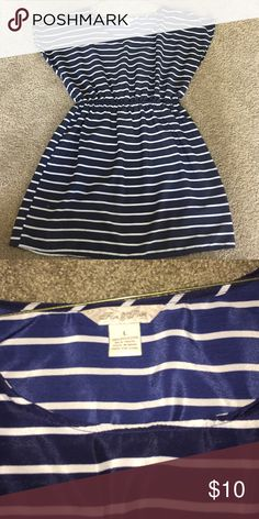 Striped blue dress Navy blue and white striped dress Fun and flirt  Dresses Midi