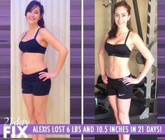 Alexis lost 6 lbs and 10.5 inches in just 3 weeks by using the 21 Day Fix program. Amazing results using the Beachbody program 21-Day Fix