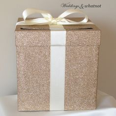 "Champagne and Ivory Wedding Card Box with Bow 9"" w x 9"" h-Choose your colors on Etsy, $50.00 [for the card box this is kind of what I would like to recreate]"