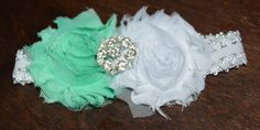 Baby Shabby Chic Double Flower headband by MyBlessedMessGifts