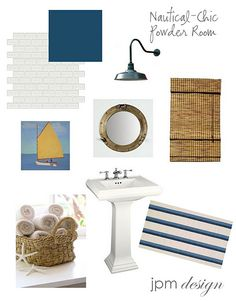 Design Board - nautical inspired  powder room-sink pipes wrapped in rope