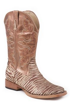 Roper Womens Sq Toe Brown Faux Leather Brown Zebra Glitter Cowboy Boots