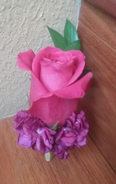 Hot pink rose & stock Boutonniere #mybouquetlv #hotpinkboutonniere #pinkboutonniere