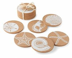 These Shell Printed Cork Coasters from Select Home Decor & More feature graphic white block printed sea treasures including shells, starfish and sand dollars. Coasters come stacked and tied with raffia. Set of Sea Crafts, Cork Crafts, Seashell Crafts, Cork Coasters, Stone Coasters, Christmas Crafts For Gifts, Handmade Christmas, Cleaning Sea Shells, Beach Themes
