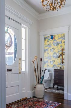 Powder Room Off of Cape Cod Entryway New England Cottage, Painted Beams, Brick Cottage, Storybook Homes, Waterfront Cottage, Open Concept Floor Plans, Decorating Small Spaces, Decorating Ideas, Hanging Light Fixtures