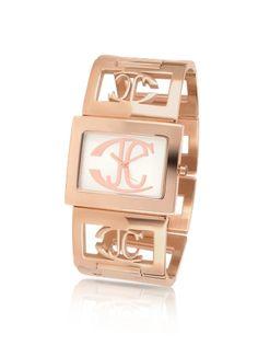 Just Cavalli Squared - Logo Rose Gold Plated Link Bracelet Watch