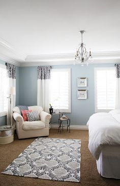 Master Bedroom. Wall color: Benjamin Moore - Smoke. Drapes -- Tutorial. love, colors, rug, decor.
