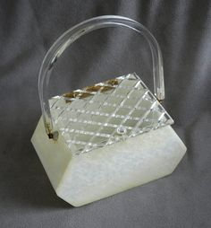 Vintage mid century box purse Llewellyn lucite hand by amightygood
