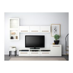 BESTÅ TV storage combination/glass doors - Marviken white clear glass, drawer runner, soft-closing - IKEA