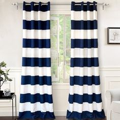 Shop for DriftAway Mia Stripe Room Darkening Grommet Top Window Curtain Panel Pair. Get free delivery On EVERYTHING* Overstock - Your Online Home Decor Outlet Store! Get in rewards with Club O! Blue And White Curtains, Striped Curtains, Colorful Curtains, Grommet Curtains, Drapes Curtains, Blackout Curtains, Bedroom Curtains, Velvet Curtains, Curtains Living