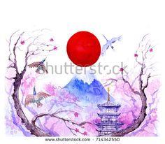 Fuji Mountain.Watercolor illustration.
