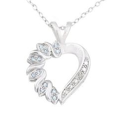 This Silver & Blue Topaz Diamond Accent Heart Pendant Necklace is perfect! #zulilyfinds