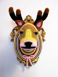Crochet deer head in gold frame by ManafkaMina on Etsy