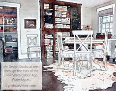 Have you heard? This App is fantastic! My Design Studio as seen through the eyes of the new watercolour App #Waterlogue CynthiaWeber.com