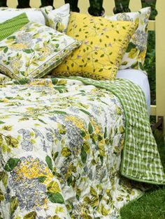 Harriet's Hydrangea King Quilt, part of the Lemon Twist Collection. Tart and Tangy but still so very sweet! Also available in Queen and coordinating accents. April Cornell