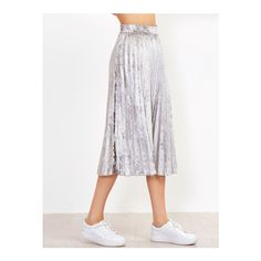 SheIn(sheinside) Silver Pleated Velvet Skirt ($23) ❤ liked on Polyvore featuring skirts, silver, white pleated maxi skirt, long silver skirt, long maxi skirts, long skirts and long velvet skirt
