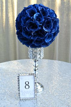 NAVY BLUE flower ball, Navy Blue Wedding Centerpiece, Navy Blue Wedding Decor, Navy Blue Kissing Ball, Navy Blue Pomander, Navy Blue Roses