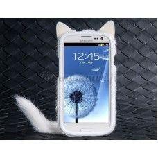 Kissa suojakotelo Samsung Galaxy S3, valkoinen