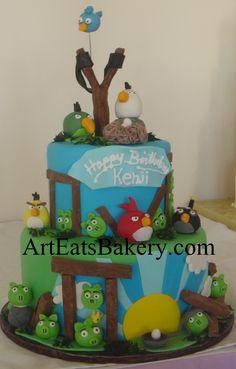 19c05dec619 Angry birds custom unique 3 tier fondant birthday cake design with edible  birds
