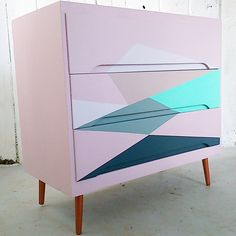 Geometric Painted Chest of Drawers. Mid Century Inspied Furniture by The Vintageware Store