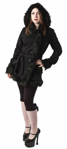 Freya Black Faux Fur Jacket - Gothic, industrial, steam punk coats