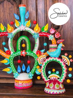 Mexican Folk Art, Mexican Pottery, Dia de los Muertos Art. Ceramic hand painted and sculpted candle holders inspired by vintage Mexican folk art #folkart #mexicanart #diadelosmuertos #ofrenda #candle #candleholder Ceramic Painting, Ceramic Art, Mexican Colors, Kitsch Decor, Mexican Ceramics, Mexican Folk Art, Eclectic Decor, Vintage Colors, Tree Of Life