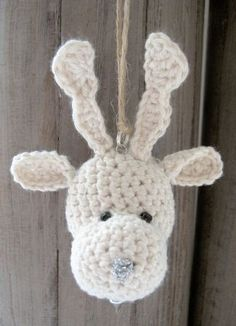 Reindeer crochet Christmas ornament pattern