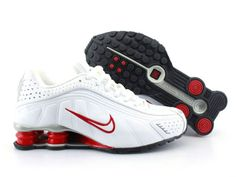 Chaussures Nike Shox R4 Blanc/ Rouge/ Argent [nike_12243] - €49.95 : Nike Chaussure Pas Cher,Nike Blazer and Timerland   http://www.facebook.com/pages/Chaussures-nike-originaux/376807589058057