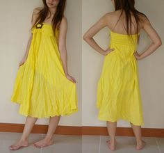 Yellow Cotton Strapless Dress or Skirt by kolonclothes on Etsy, $35.00