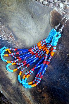 Blue Orange Beaded Earrings Peyote Stitch cranberry by MexiFolk, $14.50
