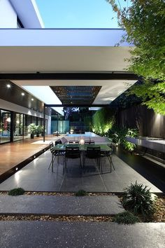 outdoor dining plus stone flooring