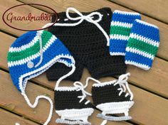 BABY HOCKEY BOYS Vancouver Canucks pacifier not included, Crocheted Hockey Outfit, Hockey Baby Boy, Baby Hockey Knit Skates, Hockey Knit Hat by Grandmabilt on Etsy